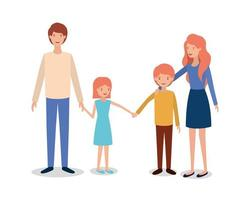 cute and happy family members characters vector