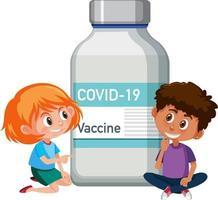 personaje de dibujos animados de niños sentados con botella de vacuna covid-19 vector