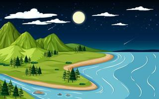 Nature landscape scene with mountain and river at night time vector