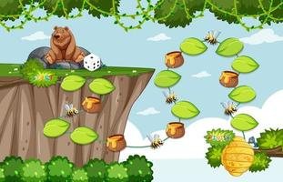 Game template with grizzly bear and bee on forest background vector