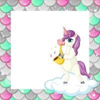Plantilla de marco de escamas de peces de colores en blanco con lindo personaje de dibujos animados de unicornio vector