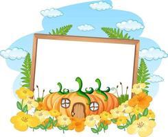 Empty banner with fantasy pumpkin house vector