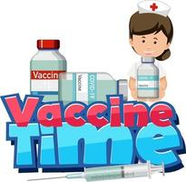fuente de tiempo de vacuna con una enfermera sosteniendo una botella de vacuna covid-19 vector