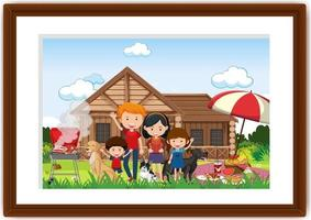 A picture of family doing picnic in a frame vector