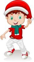 Cute boy in christmas costume cartoon character vector