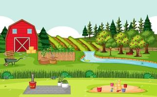 Farm scene with red barn in field landscape vector
