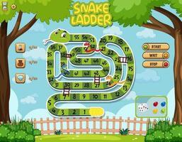 Snake Ladder Board Game for kids template vector
