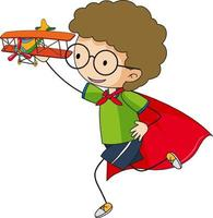 Super hero boy cartoon character in hand drawn doodle style isolated vector