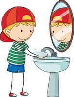 A doodle kid washing hand cartoon character isolated vector