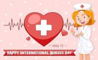 Happy International Nurses Day font with Nurse cartoon character vector