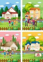 Diferentes escenas de familia de pie frente a una casa en venta. vector