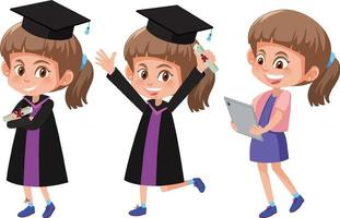 Set of a girl wearing graduation gown with different poses vector