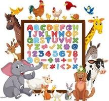 alfabeto az y símbolos matemáticos en un tablero con animales salvajes