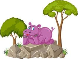 Escena aislada con lindo hipopótamo tendido sobre piedra vector