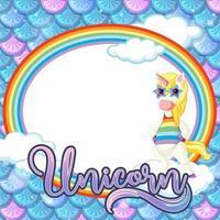 Plantilla de marco ovalado sobre fondo de escamas de pescado azul con personaje de dibujos animados de unicornio vector