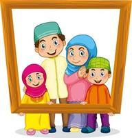 Happy family member holding photo frame vector