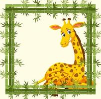 Empty banner with bamboo frame and giraffe cartoon character vector