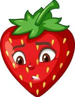 Strawberry cartoon character with facial expression vector