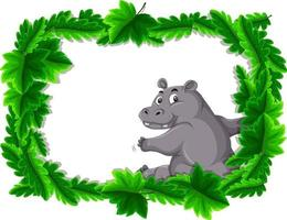 Empty banner with tropical leaves frame and hippopotamus cartoon character vector