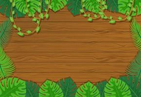 Blank wooden board background with leaves elements vector
