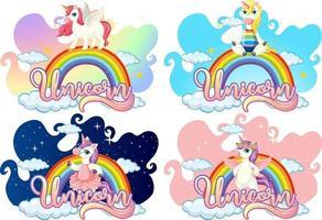 conjunto de diferentes personajes de dibujos animados de unicornio en arco iris con fuente de unicornio vector