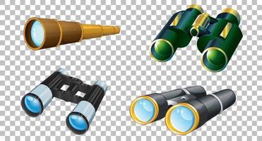 conjunto de diferentes binoculares aislado vector