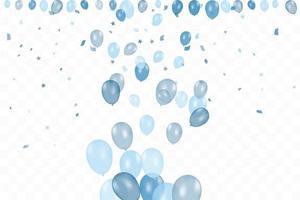 cumpleaños del niño. Fondo de feliz cumpleaños con globos azules y confeti. celebración evento fiesta.