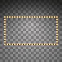 Shining golden led vector rectangle frames, neon illumination. Glowing decorative rectangle tapes of diode ecological lamps light effect for banners, web-sites