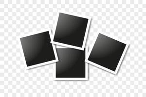 conjunto de marcos cuadrados realistas, diseño de maqueta de marcos de fotos vectoriales. vector