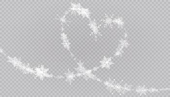 Heart shaped snowflakes in a flat style in continuous drawing lines. Trace of white dust. Magic abstract background isolated. Miracle and magic. vector