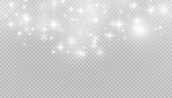 nieve blanca vuela sobre un fondo transparente. copos de nieve de navidad. Ilustración de fondo de ventisca de invierno. vector
