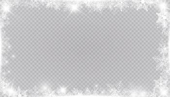 Rectangular winter snow frame border with stars, sparkles and snowflakes. Festive christmas banner, new year greeting card, postcard or invitation vector