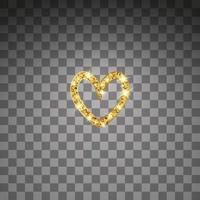 Gold glitter vector heart. Golden sparkle St. Valentines day card. Luxury design element.