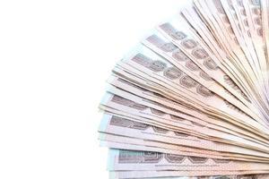 Thai banknotes on white background photo