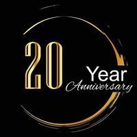 Ilustración de diseño de plantilla de vector de color de fondo negro dorado de celebración de aniversario de 20 años