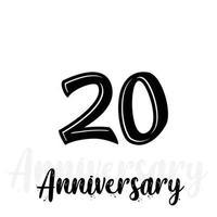 Ilustración de diseño de plantilla de vector de celebración de aniversario de 20 años