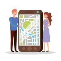pareja joven con smartphone y aplicación gps vector