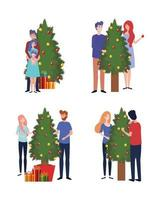 group of people decorating christmas trees celebration vector
