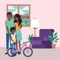 lindos miembros de la familia afro en los personajes de la sala de estar vector