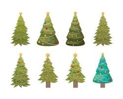 set of pines trees christmas celebration vector