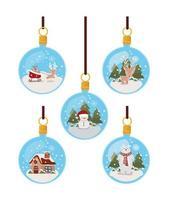set of christmas ornament celebration vector