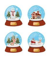 conjunto de bolas de cristal celebración navideña vector