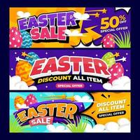 Easter Sale Banner with Colorful Background vector