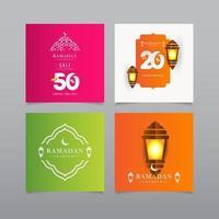 Ramadán kareem venta descuento oferta especial por tiempo limitado solo linterna celebración vector plantilla diseño ilustración