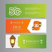 Ramadán kareem descuento de venta oferta especial hasta 50 por tiempo limitado solo celebración de linterna diseño de plantilla de vector ilustración