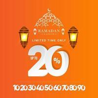 Oferta especial de venta de ramadan kareem hasta 20 de descuento solo por tiempo limitado ilustración de diseño de plantilla vectorial