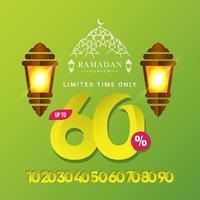 Oferta especial de venta de ramadan kareem hasta 60 de descuento solo por tiempo limitado ilustración de diseño de plantilla vectorial