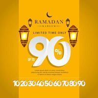 Oferta especial de venta de ramadan kareem hasta 90 de descuento solo por tiempo limitado ilustración de diseño de plantilla vectorial