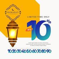 oferta especial de venta de ramadan kareem hasta 10 de descuento solo por tiempo limitado ilustración de diseño de plantilla vectorial