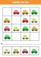 Sudoku game for kids with cartoon colorful cars vector